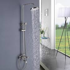 2019 round 8 inch brushed nickel shower faucet tub hand shower head mixer tap wall mount two handles contemporary from rozinsanitary1 225 13 dhgate com