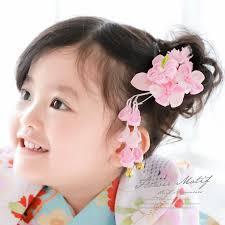 髪飾り つまみ細工 ピンク 桜 菊 花 女の子 七五三 3才 7才 スリーピン