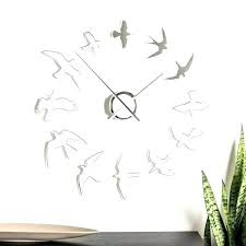bird sound wall clock silver oversized with flying cuckoo clo