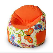 <b>Пуфик</b>-мешок Емеля, Бабочки оранжевый, принтованный хлопок ...
