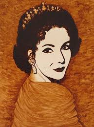 elizabeth taylor original coffee painting on paper painting by georgeta blanaru