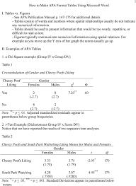Table Apa Format How To Make Apa Format Tables Using Microsoft Word Pdf