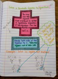 solving a quadratic equation by square roots interactive notebook page