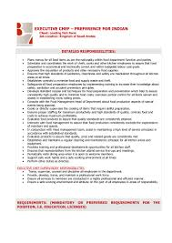 Cook Job Description Resume Executive Chef Job Description 44