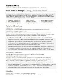 public relations sample resume sample resume for a public relations manager monster com