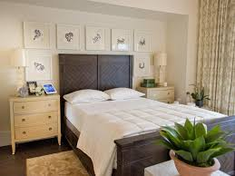 ... Bedroom Blue Color Scheme Black Wooden Bedside Table Two White Glass  Window Grey Wall Lamp Bed