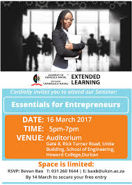 seminar invitation invitation to seminar essentials for entrepreneurs ukzn extended