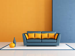 blue orange paint covered walls