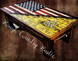 deluxe home defense coffee table charred american flag with torn in gadsden flag
