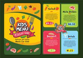 Menu Templates Design Cute Colorful Kids Menu Template Download Free Vector Art Stock