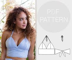 Crop Top Sewing Pattern New Womens Halter Neck Bralet Style Croppedtop With Tie Back Fastening