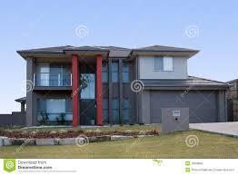 Modern House Pillar Designs Modern Grey House With Red Pillars Stock Photo Image Of