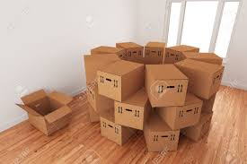 relocation stock photos pictures royalty relocation images relocation arrangement of empty cardboard packing boxes standing on a wooden floor in a room