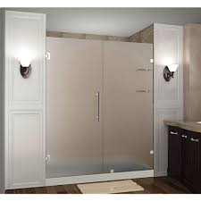 completely frameless hinged shower door with