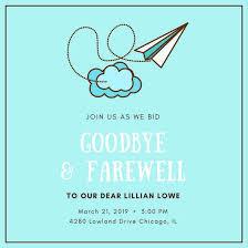 Goodbye Breakfast Invitation Turquoise Farewell Party Invitation