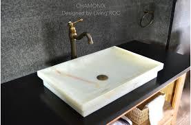 24 white onyx stone bathroom vessel sink chamonix