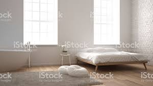 Image Aged Oak Classic Industrial Modern Bedroom With Big Windows Brick Wall Parquet Floor And Bathtub White And Architecture Interior Design Stock Image Istock Classic Industrial Modern Bedroom With Big Windows Brick Wall