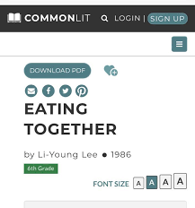 Commonlit answers ― answers to everything related to commonlit to help with that, we gathered all the answers/ keys of stories or chapters of commonlit which are listed below. Eating Together Commonlit Somebody Have The Answers Brainly Com