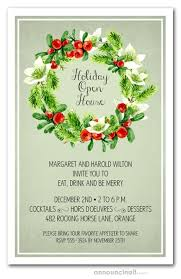 Christmas Holiday Invitations Wreath On Sage Holiday Invitations