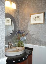 Modern Elegant Powder Room, Bead Board Panelling, Custom Vanity, Glass  Tiles Bac modern