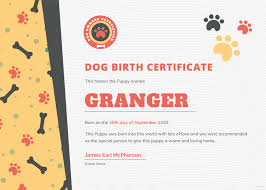 Free Dog Birth Certificate Template In Adobe Photoshop Illustrator