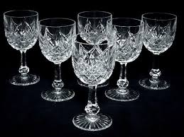 6 wine glasses in baccarat crystal signed model colbert france 20th century