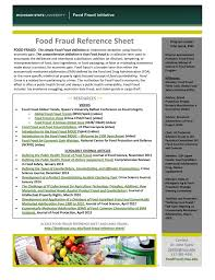 Refference Sheet Food Fraud Reference Sheet Food Fraud Initiative