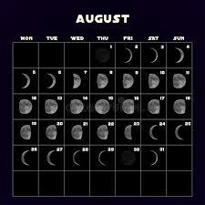 Moon Phases Calendar For 2019 With Realistic Moon August