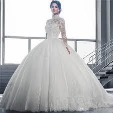 discount 2016 muslim long sleeve wedding dresses high collar