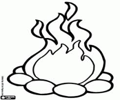 Small Picture A campfire with stones coloring page printable game