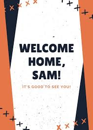 Welcome Card Templates Navy Blue And Orange Cross Lines Welcome Card Templates By