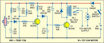 remote controlled toy car full circuit diagram available 2 remote controlled toy car receiver circuit