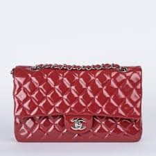 chanel classic medium red patent leather double flap bag