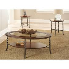steve silver vance 3 piece coffee table set in brown cherry
