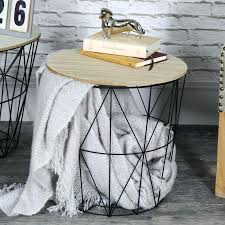 wire basket table black metal wire basket wooden top side table kmart wire basket side table