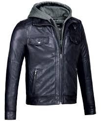 mens leather jacket with hood vintage black er genuine leather