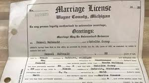 michigan state family & parenting marriage topical news Wedding License Genesee County Mi woman hopes to find family of lost michigan marriage license found in trunk at auction marriage license genesee county mi