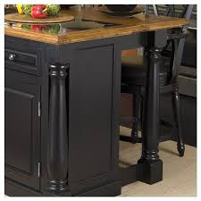 Roll Out Leg Granite Top Kitchen Island In Black And Oak
