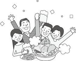 忘年会新年会お花見宴会のイラスト無料イラスト