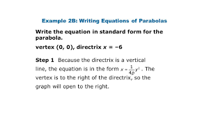 example 2b writing equations of parabolas