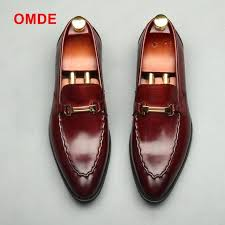 <b>OMDE New Arrival</b> Pointed Toe Loafers Genuine Leather Formal ...
