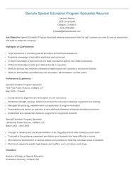 Special Education Teacher Resume Sample Special Education Program Specialist Resume Resame 84