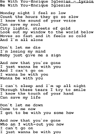 Love Song Lyrics for:Be With You-Enrique Iglesias
