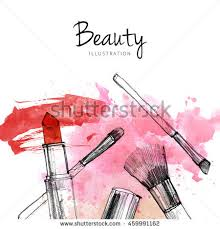 makeup brush with smear lipstick on white background watercolor pencil drawn cosmetics fashion