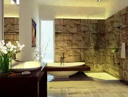 Bathroom:Natural Style Spa Bathroom Decor With Unique Stone Wall And Bowl  Shape White Bathtub