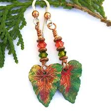tropical leaf earrings handmade artisan jewelry green c swarovski