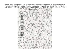 Phone Message Log Book Telephone Call Log Book Grey Floral Cover Phone Call Log