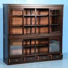 bookshelf with glass doors antique bookcase or cabinet with sliding glass doors circa in good condition