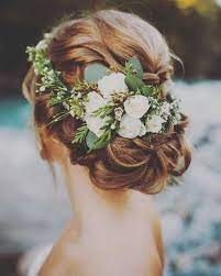 Pin by Nanette Maynard on Hair and Head | Winter wedding hair, Flower crown  hairstyle, Wedding hair flowers