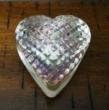 robert held art glass heart paperweight signed rhag